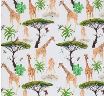 wit (off white) groen cognac jungle giraf vlinder libelle - digitaal tricot