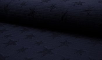 donker blauw wafel jacquard ster (op=op)