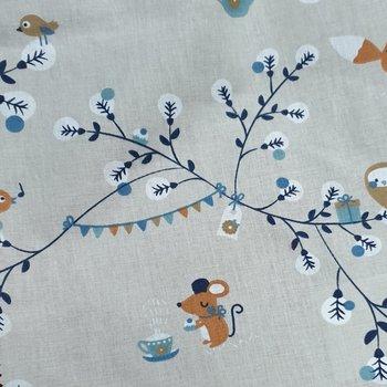 beige blauw wit camel terracotta bosdiertjes vosjes, uilen en muisjes