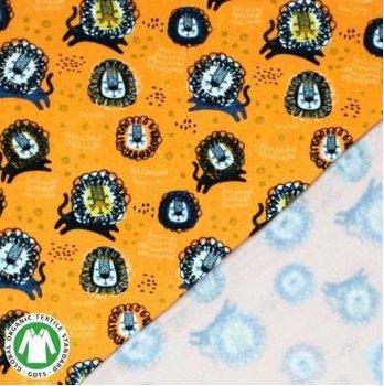 geel mosterd/oker camel grijsblauw terracotta zwart leeuwtjes - biologische french terry (op=op)