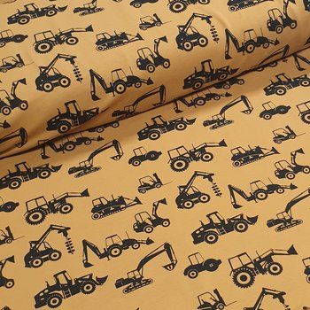 camel (oker) zwart graafmachines & bulldozer - tricot