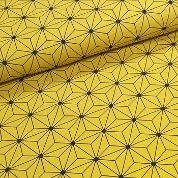 geel (oker) zwart geo figuur - tricot