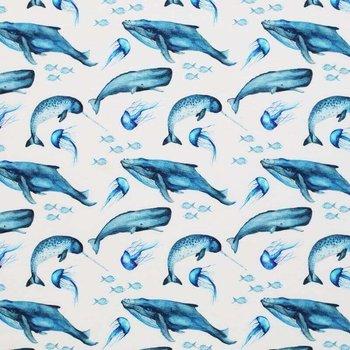 wit (off white) blauw walvissen - digitaal tricot