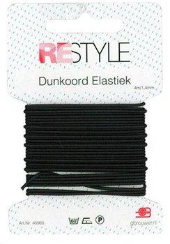 tijdelijk op - zwart dunkoord elastiek 1,4mm - 4 meter / kaartje