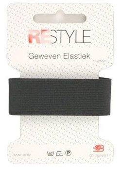 zwart geweven elastiek 25mm - 1 meter / kaartje