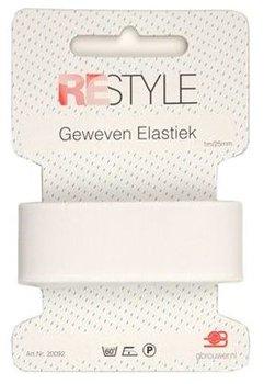 wit geweven elastiek 25mm - 1 meter / kaartje