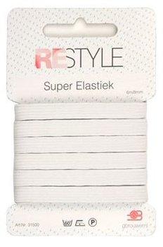 tijdelijk uitverkocht - wit super elastiek 8mm - 6 meter / kaartje