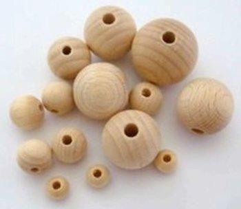houten kraal 8mm - 5 kralen