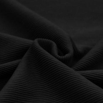 zwart fijne katoenen baby rib tricot