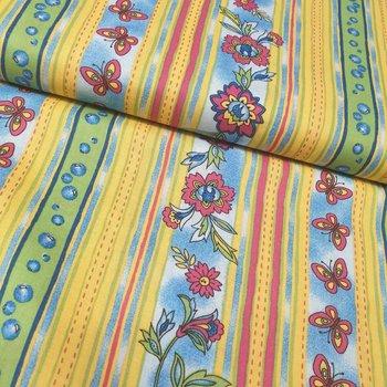geel blauw groen roze bloemen en strepen (op=op)
