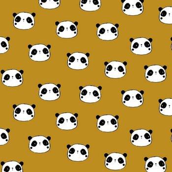 geel (oker) wit zwart panda flanel