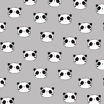 licht grijs wit zwart panda flanel