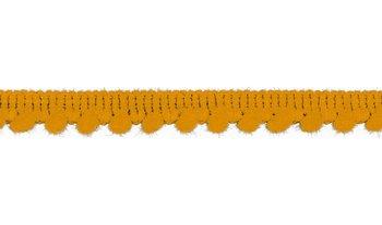 geel (oker) band met mini pompoms