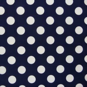 donker blauw wit polka dot