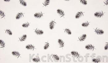 wit (ecru) zwart palm blaadjes - tricot