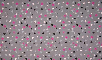grijs roze zwart hartjes- tricot