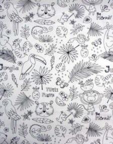 wit zwart kleurboek jungle