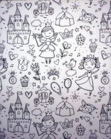 wit zwart kleurboek prinses