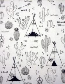 wit zwart kleurboek tipi & kaktus
