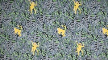 grijs - groen - geel aapjes - tricot