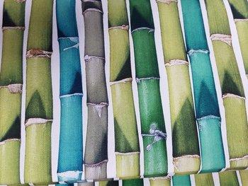 groen wit taupe aqua bamboe digitaal canvas katoen