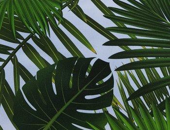 groen wit palm en monstera bladeren digitale canvas katoen