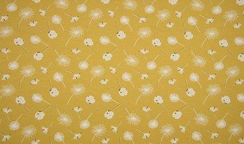 geel (mat oker) wit paardenbloempluis  - tricot