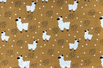 geel oker wit zwart lama - tricot