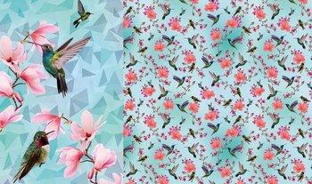 blauw turquoise roze vogels (kolibrie) en bloemen paneel digitaal- tricot