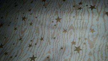 wit (ecru) mat gouden sterren x-mas (op=op)