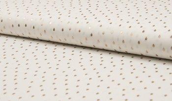 wit (off white) mat goud druppels / drops - glitter
