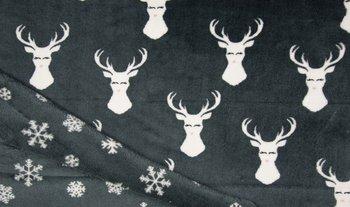 nog 1,7mtr - donker grijs (zwart) hert en sneeuwvlokken Knuffel fleece (op=op)