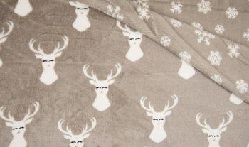 beige hert en sneeuwvlokken Knuffel fleece (op=op)