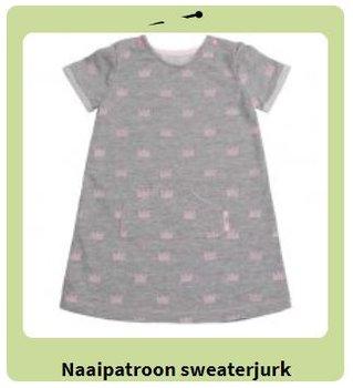 sweat jurk patroon maat 50 t/m 74