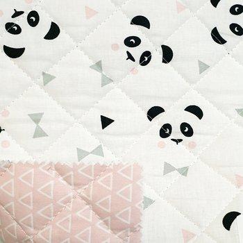 roze panda & triangel gewatteerd