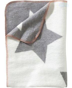 grijs wit ledikant deken sterren (oranje afgewerkt)