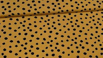 geel (oker) zwart painted dots - tricot