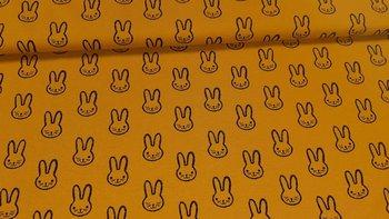geel (oker) zwart konijntje - tricot (op=op)