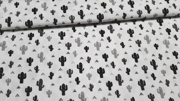 nog 2m - wit zwart & grijs kaktus - tricot (op=op)