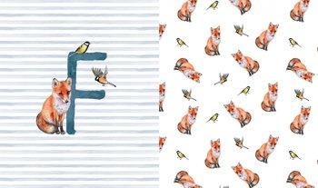 wit (ecru) terracotta blauw vosjes (Fox) paneel digitaal- tricot