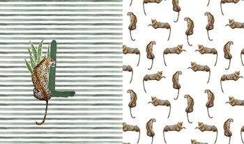 wit (ecru) groen geel oker luipaard (Leopard) paneel digitaal- tricot (op=op)