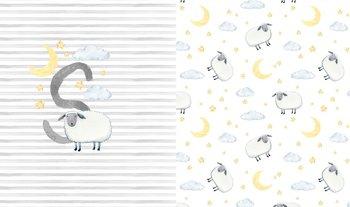 wit (ecru) grijs geel schaap (Sheep) paneel digitaal- tricot