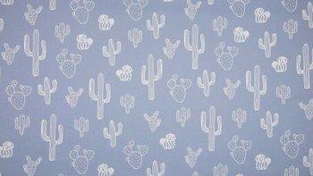 nog 1,45mtr- vintage blauw cactus canvas katoen (op=op)