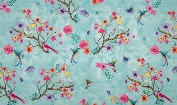 blauw turquoise roze geel paradijs vogels en bloemen digitaal  - tricot