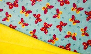 blauw (aqua) geel rood vlinders dubbelzijdig Knuffel fleece