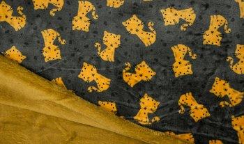 donker grijs oker poezen dubbelzijdig Knuffel fleece