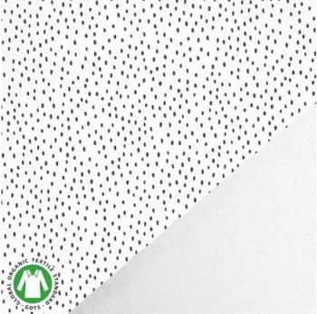wit (off white) zwart confetti druppels - biologische french terry (op=op)