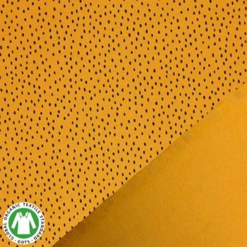 geel mosterd/oker zwart confetti druppels - biologische french terry