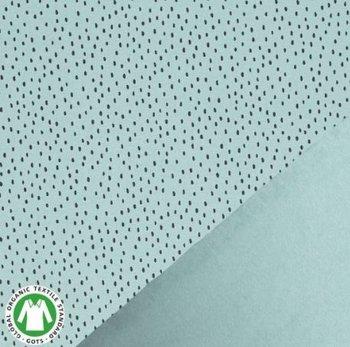saffier (licht) groen zwart confetti druppels - biologische french terry