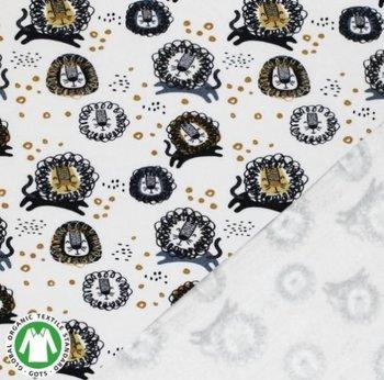 wit (off white) camel grijsblauw zwart leeuwtjes - biologische french terry